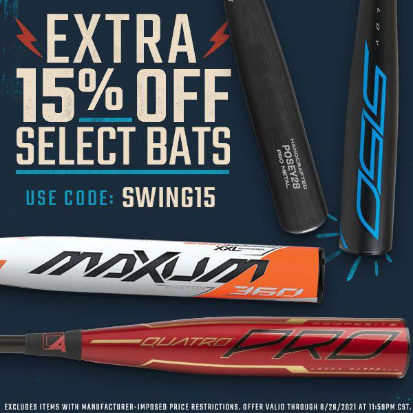 Extra 15% Off Select Bats